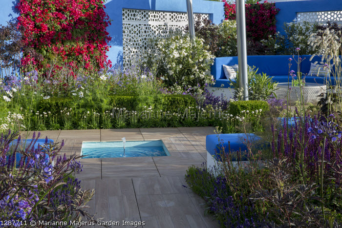 Mediterranean-style garden, blue cushions on built-in bench and stools, square pool and fountain det in decking, white aluminium panels in blue painted wall with living green Bougainvillea 'Barbara Karst' walls, Foeniculum vulgare 'Purpureum', sanguisorba, Salvia nemorosa 'Caradonna', Nerium oleander 'Album'
