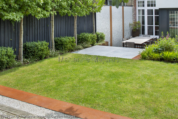 View across raised lawn with Cor-Ten steel edging to sunken terrace with table and chairs, pleached Liquidambar styraciflua screen against black painted fence underplanted with box cubes and Erigeron karvinskianus, mosaic tiled wall