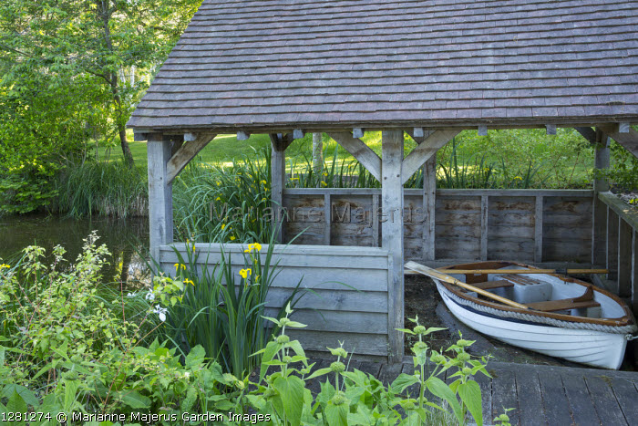 Boat in boathouse, Iris pseudacorus