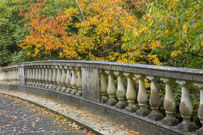 Stone balustrade over bridge, prunus, Fagus sylvatica 'Dawyck'