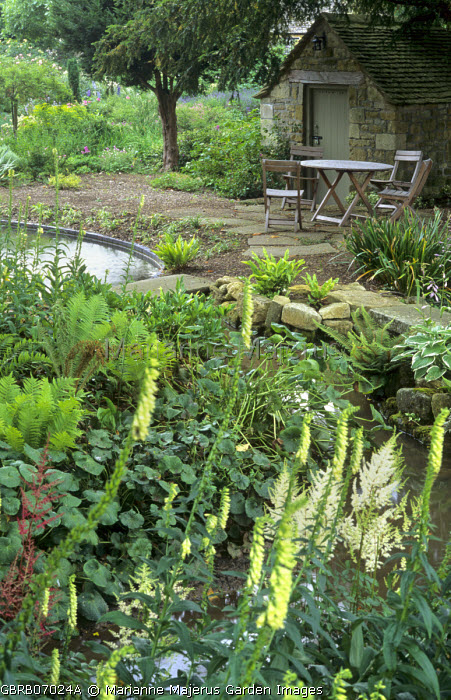 Table and chairs, stone shed, pond, astilbe, Digitalis lutea