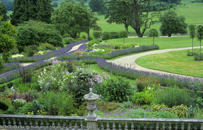 View from clock tower over herbaceous perennial borders