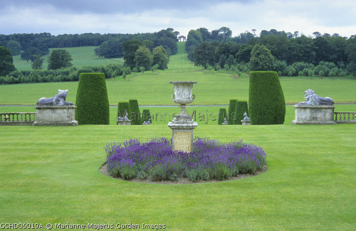 View from terrace to arch on hill, urn on plinth surrounded by lavender, yew columns