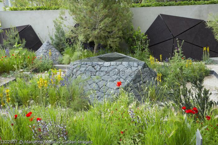 Black basalt stone raised pool, Asphodeline lutea, Papaver rhoeas