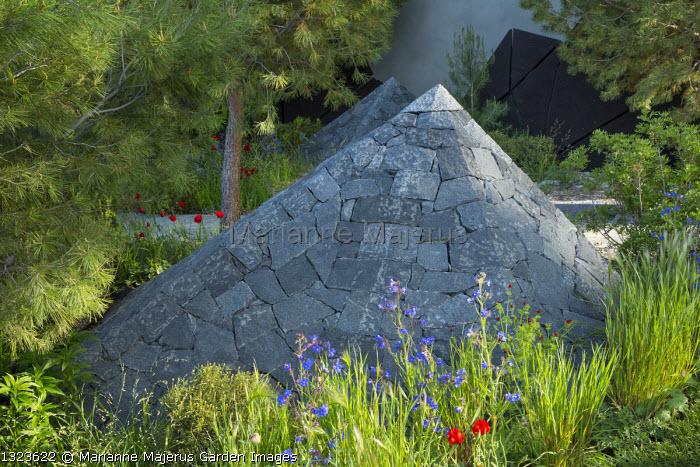 Black basalt stone pyramids, Anchusa azurea