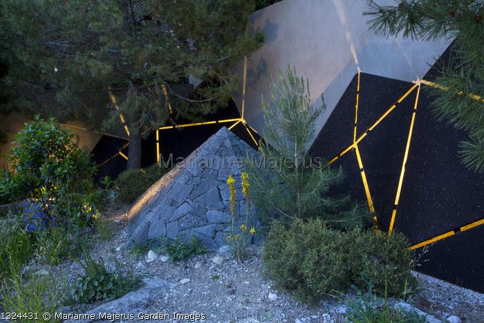 Black basalt stone pyramid, Pinus halepensis