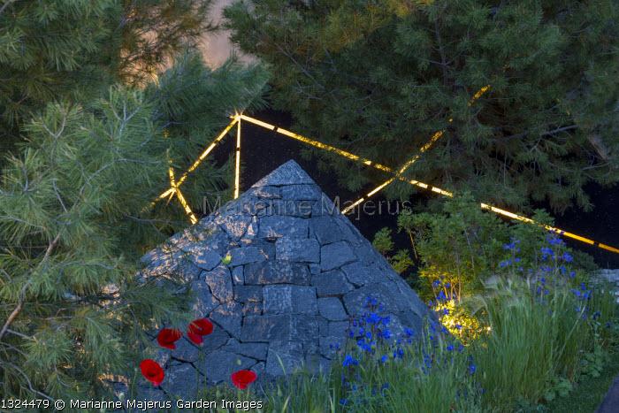 Black basalt stone pyramids, Pinus halepensis, Anchusa azurea, Papaver rhoeas