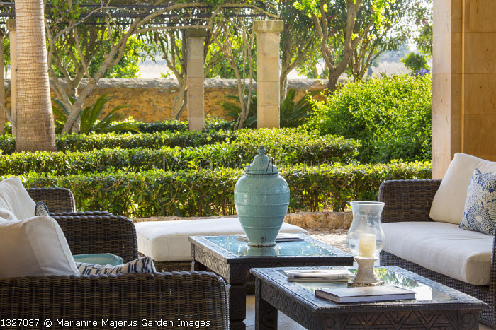 Table and chairs on mediterranean terrace