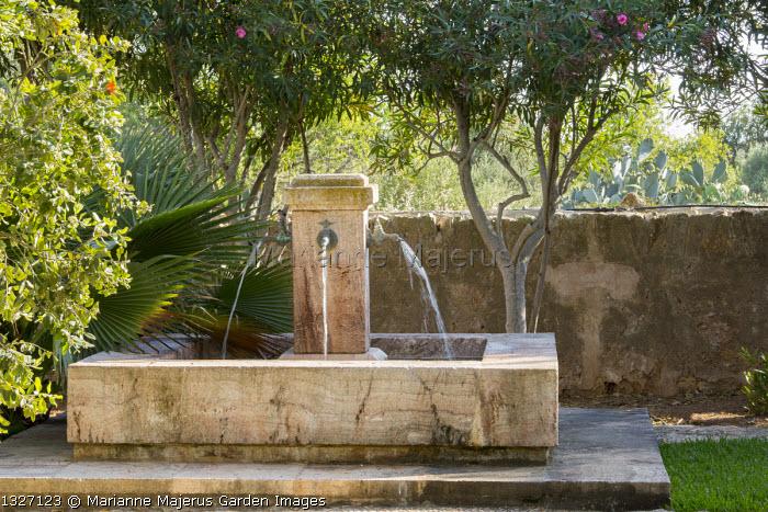 Water fountains in mediterranean garden