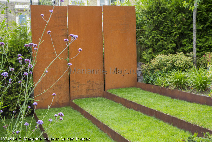 Grass steps with cor-ten steel risers, cor-ten steel wall, Verbena bonariensis, euphorbia