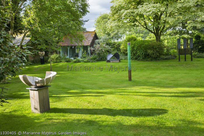 Contratone by Alyosha Moeran, Green Shoot by Colin Reid, Acer platanoides 'Drummondii', view across lawn to summerhouse