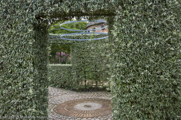 Pyrus salicifolia 'Pendula' circular arbour enclosure, brick and granite sett paving