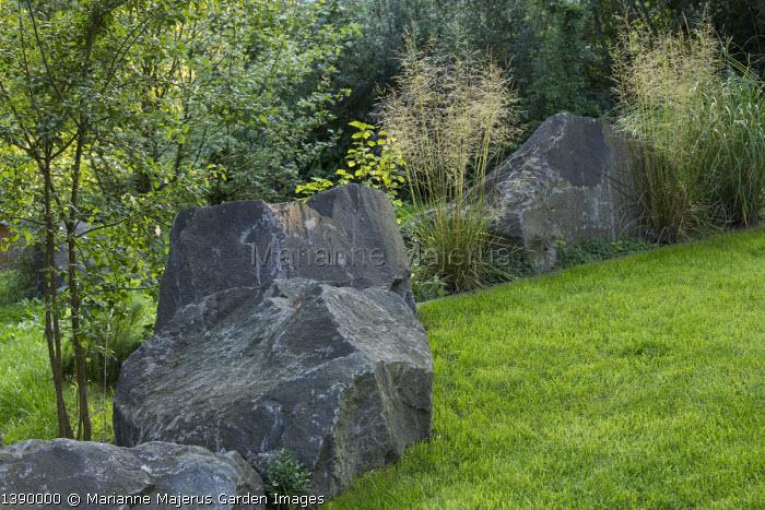 Contemporary basalt rock garden, lawn, Deschampsia cespitosa, euonymus
