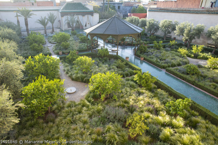 Overview of contemporary Islamic garden, arbour, borders edged with clipped rosemary, Stipa tenuissima, lemon trees, glazed green bejmat tile paths