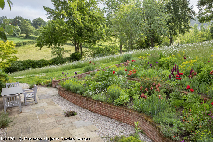 Terraced border, Papaver orientale (Goliath Group) 'Beauty of Livermere' and 'Harlem', Euphorbia oblongata, Euphorbia griffithii 'Dixter', Iris 'Quechee', Lupinus 'Masterpiece',  Euphorbia seguieriana subsp. niciciana, brick walls, wooden table and chairs on stone patio