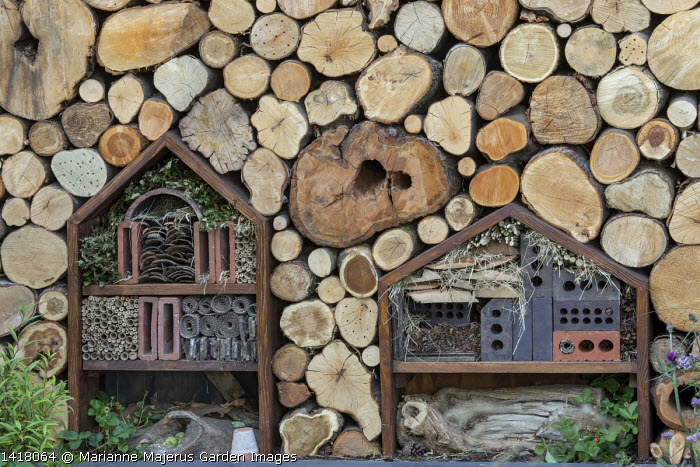 Cut log wall with inset wildlife habitats, insect 'hotel'