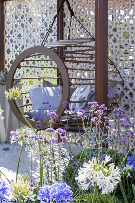 Hanging chair with cushions in pavilion, Verbena bonariensis, agapanthus