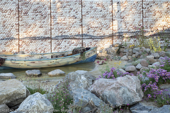 Wooden boat on pond, shell wall, Erigeron glaucus 'Sea Breeze'