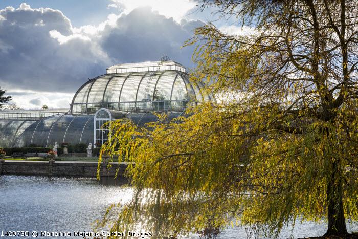 View across lake to Kew Gardens Palm House