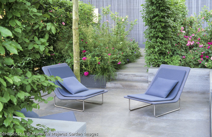 Contemporary chairs on basalt paving, sunken patio, roses