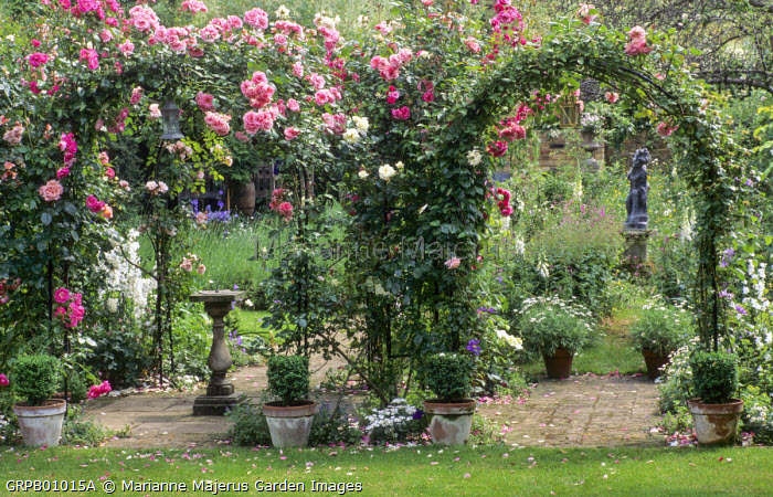 Sundial under arch with Rambling Rosa 'White Cockade', 'Albertine', 'Morning Jewel', 'Swan Lake', foxgloves