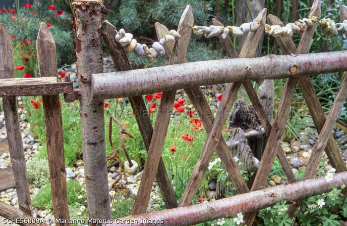 Split chestnut wooden fence, hagstones, Papaver rhoeas