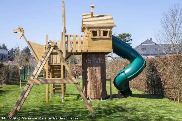 Children's play area, climbing frame, slide