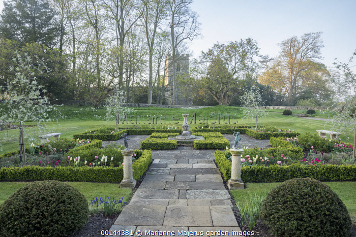 Sundial in formal box-edged parterre, tulips, view to church