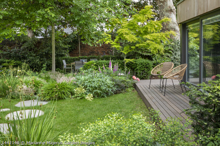 Contemporary chairs on decking by pavilion, stepping stones across lawn, table and chairs, Digitalis purpurea, Hakonechloa macra, Helleborus argutifolius, Libertia grandiflora, Acer palmatum