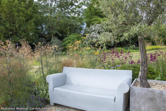 Contemporary outdoor sofa, Foeniculum vulgare, Penstemon 'Raven', Stipa gigantea, Olea europaea in large container