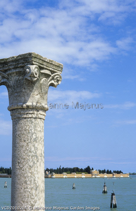 Classical stone column by canal
