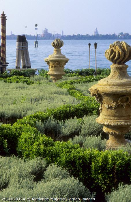 Classical ornaments in parterre, santolina