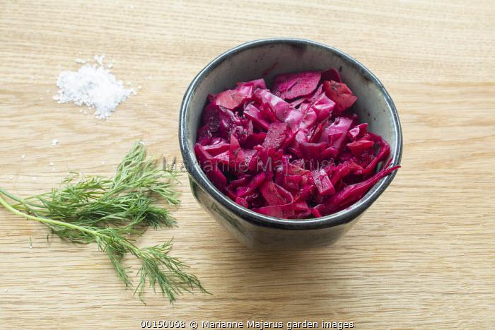 Sauerkraut in bowl, dill