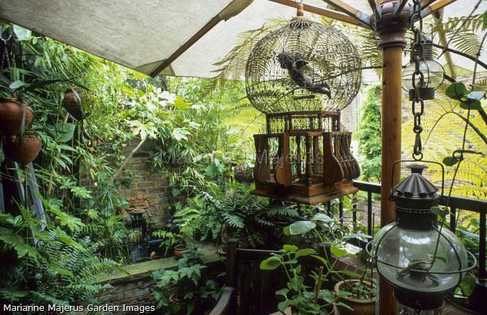 Lush balcony, parasol, cherub in cage, lantern, raised pond and terracotta lion wall fountain, bamboo, ferns