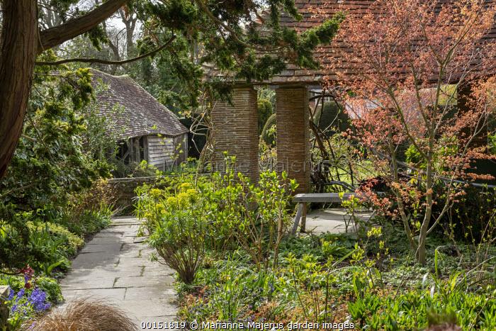 Wooden bench under brick logia, new shoots on Acer palmatum 'Katsura' and hydrangea, Euphorbia characias subsp. wulfenii, stone path