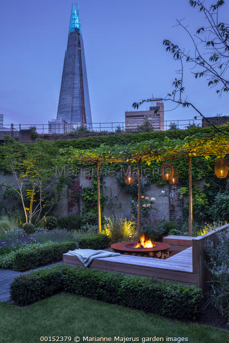 Lanterns hanging from row of umbrella-trained Morus nigra 'Fruitless' by built-in wooden seating area around Cor-Ten steel firepit, low Taxus baccata hedge, view towards The Shard
