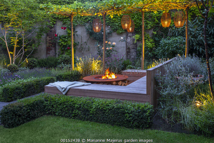 Lanterns hanging from row of umbrella-trained Morus nigra 'Fruitless' by built-in wooden seating area around Cor-Ten steel firepit, low clipped Taxus baccata hedge, roses