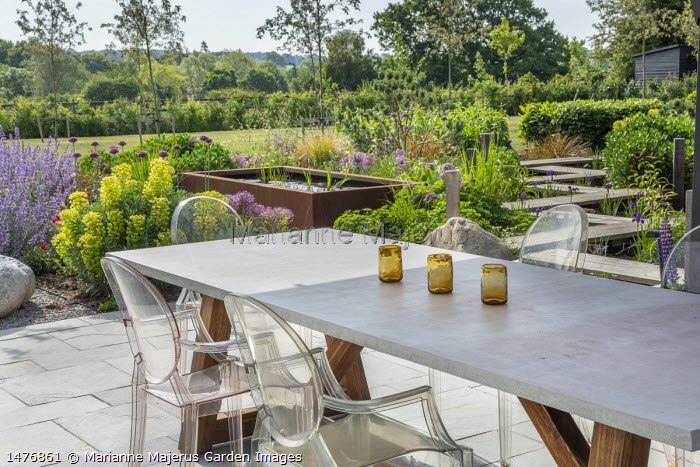 Transparent chairs around table on stone patio, Nepeta racemosa 'Walker's Low', Allium hollandicum 'Purple Sensation', Euphorbia characias subsp. wulfenii, Cor-Ten steel raised pond