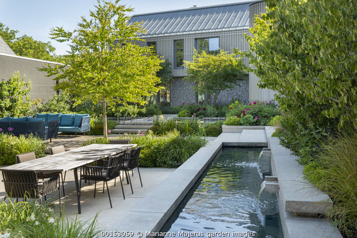 Concrete water shutes in formal pool, concrete steps, table and chairs on concrete terrace, Paeonia 'Karl Rosenfield', multi-stemmed Amelanchier lamarckii, Cercidiphyllum japonicum, Cornus mas