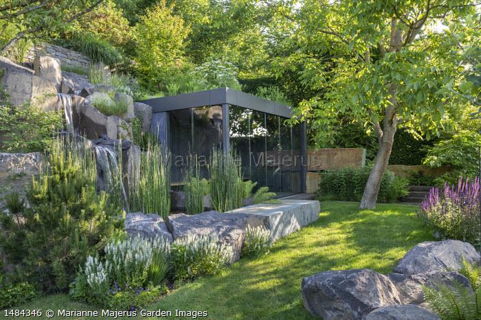 Rock garden, waterfall, contemporary glass pavilion, Equisetum hyemale, Pinus sylvestris, Salvia nemorosa 'Adrian', Salvia nemorosa 'Ostfriesland'