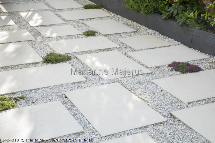 Stone paving slab and gravel terrace interspersed with thyme