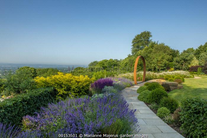Stone path leading to Cor-Ten steel ring, clipped Taxus baccata domes, nepeta, lavender, Salvia nemorosa 'Caradonna'