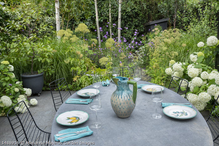 Table and chairs on stone paving, Hydrangea arborescens 'Annabelle', Verbena bonariensis, Miscanthus sinensis 'Sarabande'