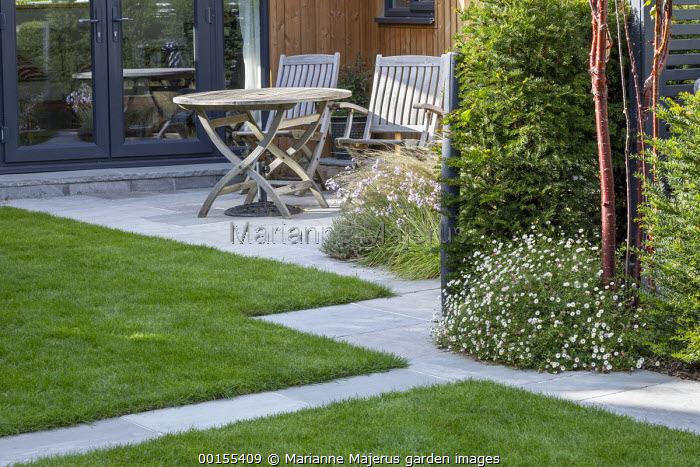 Wooden table and chairs on stone patio, stone mowing strip path around formal lawn, Taxus baccata hedge, Erigeron karvinskianus, Prunus serrula, Tulbaghia violacea