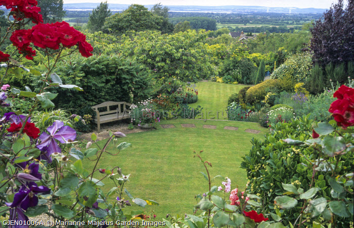 Wooden bench overlooking circular lawn, roses, stepping stones