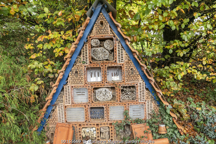 Triangular insect hotel, wildlife habitat