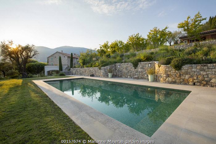 Swimming pool terrace, stone walls