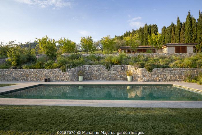 Swimming pool terrace, stone wall terraces