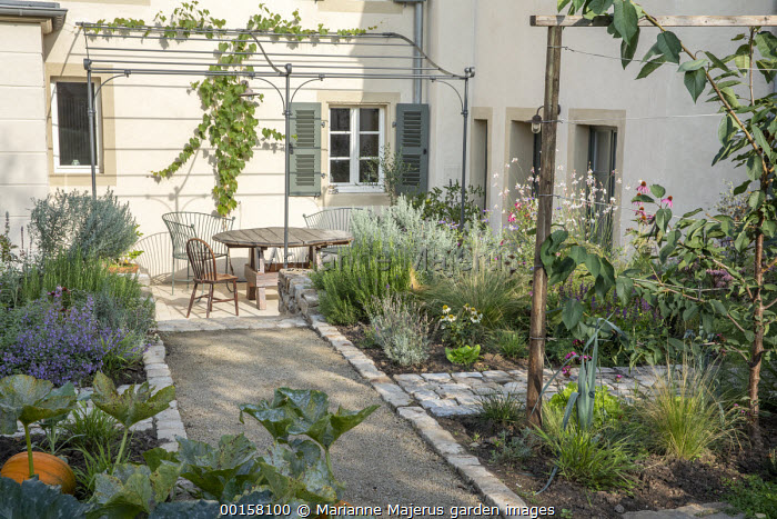 Path through walled potager, pumpkins, cabbages, lettuces, Gaura lindheimeri, metal pergola over table and chairs on patio