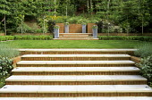 Terraced garden with stone and brick steps